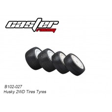 Caster Racing B102-027 Husky 2WD Preglue Tyres Set (Front & Rear)