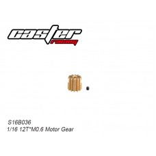 S16B036 12T Motor Pinion Gear Mod .6 2mm Shaft