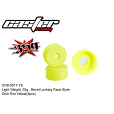 CR8-0017-YE  Light Weight 35g, Bevel Locking Race Style Dish Rim Yellow 1/8 Buggy (2pcs)