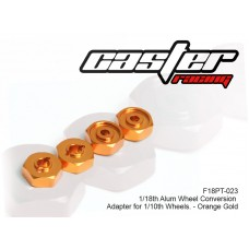 F18PT-023  1/18 Alum Wheel Conversion Adapter for 1/10th Wheels - Orange Golden