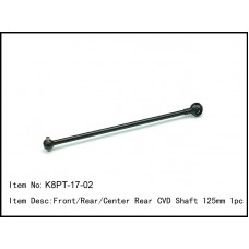 K8PT-17-02  Front/Rear/Center Rear CVD Shaft 125mm 1pc