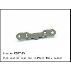 K8PT-23  K8 Rear Toe in Plate 4mm 3 degree